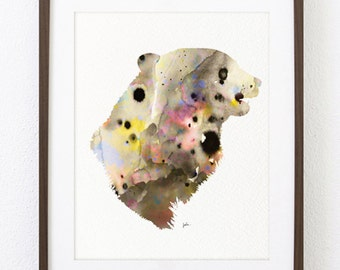 Kermode Bear Art Watercolor Painting - 8x10 Archival Print - Blonde Bear, Bear Head Silhouette - Animal Art Home Decor - Wall Hanging