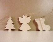 Set of three christmas figurines. Christmas decor. Christmas ornaments made of  natural wood. ecofriendly christmas decor. fir angel boot