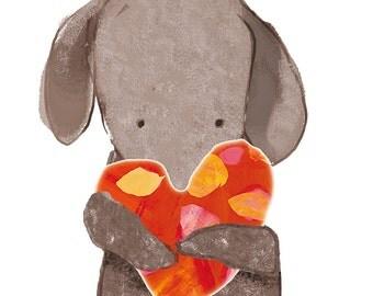 Art print - 'Giddy Heart Hug' doggy illustration. To order.