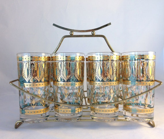 mid century glassware set fred press 1960 atomic highball