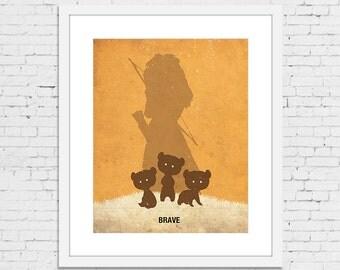 "BRAVE Retro Minimalist Poster Print 11 1/2"" x 15 1/4"" - IKEA RIBBA Frame Size"