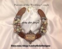 Vintage Style Wedding Horseshoe-  Parents of the Bride Gift, Vintage wedding gift, Good Luck Horseshoe-Wedding Horseshoe-Housewarming Gift