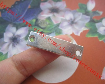 wholesale 50pcs 35x9.5mm Tibetan Silver blank rectangle charms  connector findings