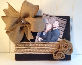 Black Distressed Picture Frame with Burlap Bow