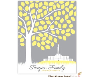 LDS Los Angeles Temple Art Print or Canvas Wedding or Anniversary Gift Tree Wall Decor Personalized Family Name Gift Mormon Temple Picture