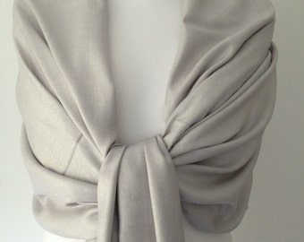 6 x Silver Grey Pashmina , Gray Scarf , Large Shawl , Pack of 6 Fair Trade Handwoven Bridesmaids Wrap