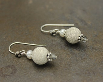 Sterling Silver, Swarovski, Freshwater Pearls, Dangle Earrings, One of a Kind, OOAK