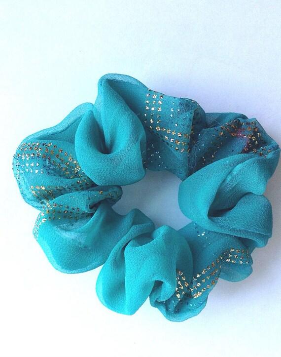Aqua blue crepe women's hair scrunchy/scrunchies/ponytail