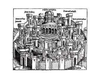 Map rubber stamp  / Jerusalem / Medieval rubber stamp / Schedels World Chronicle (140413)