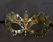 Gold masquerade mask. masquerade lace metal mask. wedding masquerade mask