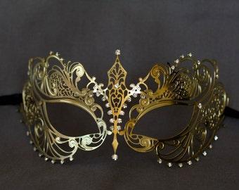 Gold masquerade mask. masquerade lace metal mask. wedding masquerade mask