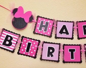 Minnie Mouse Birthday Banner hot pink glittered