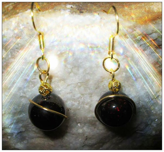 Handmade Gold Hook Earrings with Red Garnet by IreneDesign2011