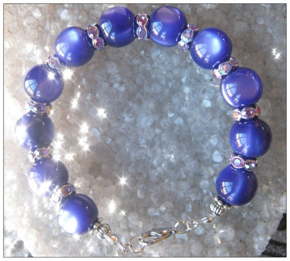 Handmade Silver Bracelet with Purple Cat Eye & Crystal by IreneDesign2011