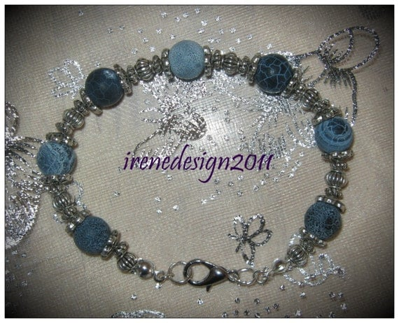 Beautiful Handmade Silver Bracelet with Blue Frosted Vein Agate