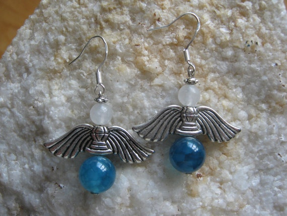 Handmade Silver Guardian Angel Earrings with Blue Vein Agate & White Opal by IreneDesign2011