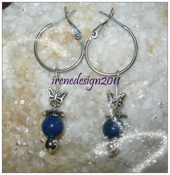 Beautiful Silver Hoop Drop Earrings with Blue Jade & Butterfly