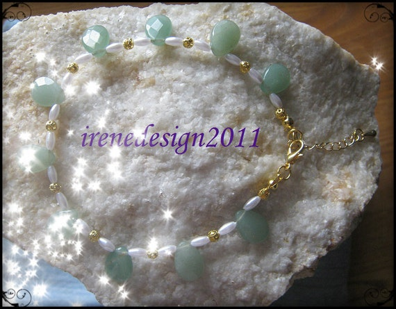 Handmade Gold Anklet with Facetted Aventurine & White Pearls by IreneDesign2011