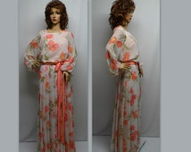 Vintage 70s Gown, 70s Floral Gown,  70s Couture Gown