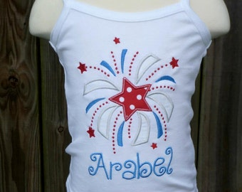 Personalized 4th of July Patriotic Fireworks Firecracker Applique Shirt or Onesie Girl