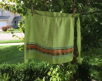 Vintage Green Half Apron With Tapestry Accent Trim