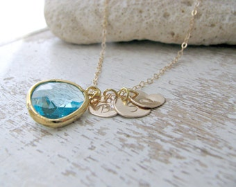 Personalized Aquamarine necklace Aquamarine Jewelry hand stamped hearts initial necklace heart jewelry custom letters monogram jewelry gift