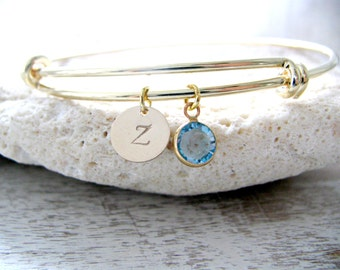 Initial Bangle Swarovski Birthstone Bangle Personalized Letter Custom Stamped Initial Aquamarine Jewelry Monogram Bracelet March Birthstone