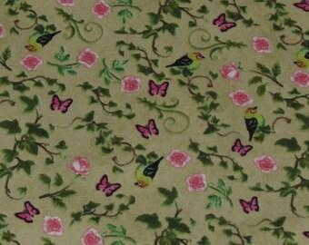 Per Yard, Bistro Birds Flowers Butterflies Fabric From David Textiles