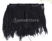 Approx. 37 inch Ostrich Feather Dyed Fringe 1 Yard Trim Black Perfectly used for decoration of clothing, home, bags, hats, etc