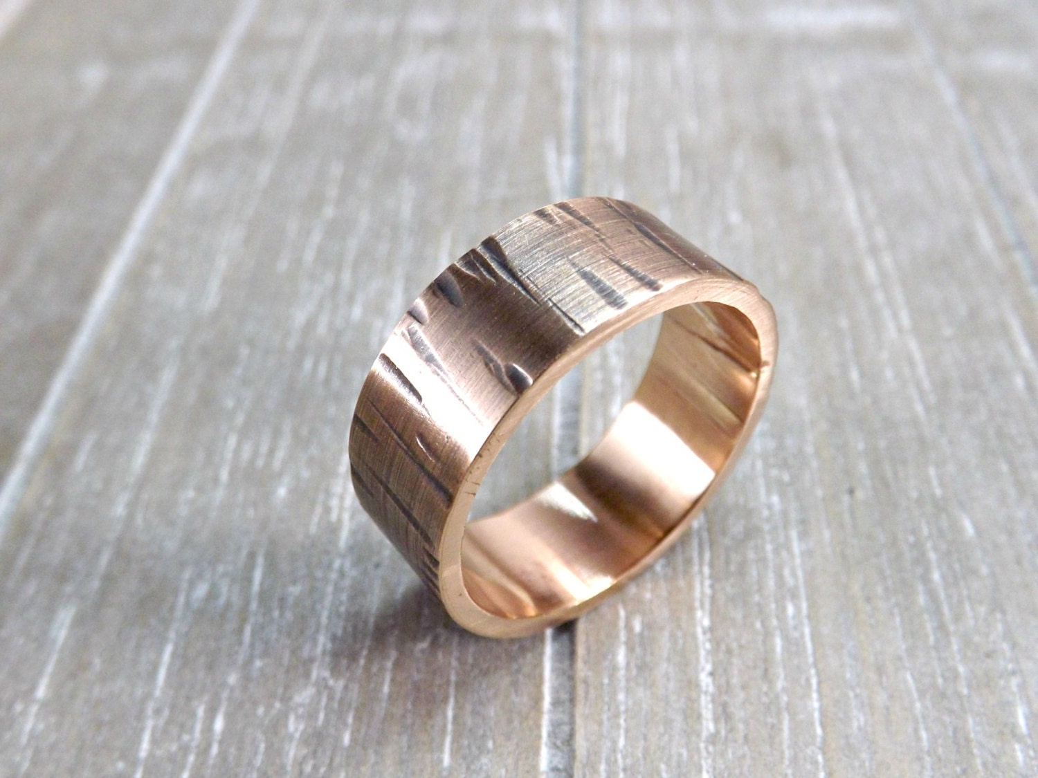 wood grain ring bronze mens personalized ring bronze by. Black Bedroom Furniture Sets. Home Design Ideas