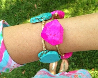 Hot Pink Agate Stone Geode Wire Wrapped Bangle Bracelet
