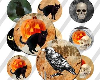 INSTANT DOWNLOAD Halloween 4x6 Bottle Cap Images Digital Collage Sheet for bottlecaps