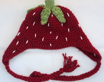 Strawberry Crochet Baby Hat, Photo Prop, 0-9 Month Size