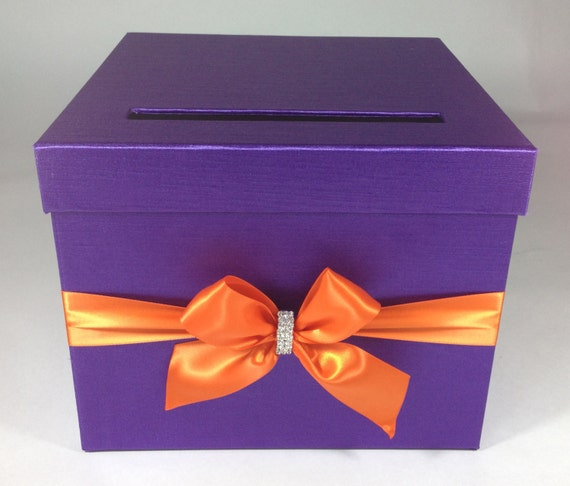 Custom Fabric Wedding Card Box - Purple Orange