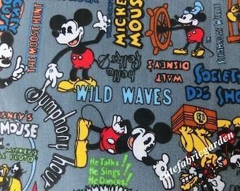Cotton Fabric - 1 Meter Animal Cartoon - Cartoon Character - Mckey Mouse fabric - Helmsman Mickey  - Gray(W140cm)