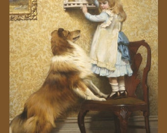 "Secret Place, Charles Burton Barber, 1845-1894, Child, Dog, Pet, 8x10"" Cotton Canvas Print, girl collie dog, animal art, antique dog art"