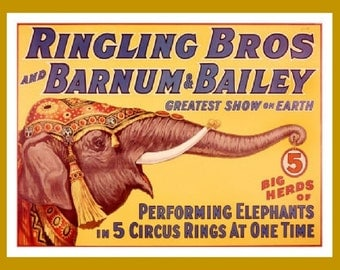 """Ringling Brothers, Barnum and Bailey Circus, Performing Elephants, Animals,  8x10"""" Satin Canvas Print"""
