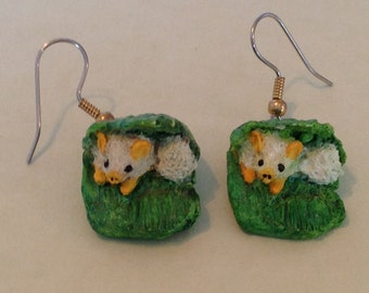 Tent Bat / White Bat Earrings