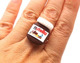 Nutella Ring, Polymer Clay Miniature Food Jewelry, Nutella Fan, Tiny Nutella Ring, Perfect Gift for Nutella's Fan