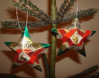 Recycled Dos Equis Beer Can Stars - Set of 2 Christmas Ornaments