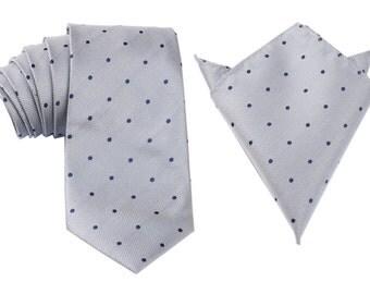 Matching Necktie + Pocket Square Combo Grey w/ Navy Blue Polka Dots (X518-T85+PS) Men's Handkerchief + Neck Tie 8.5cm Ties Neckties Wedding