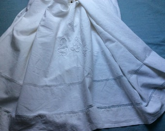 Antique coton bed sheet with monogram