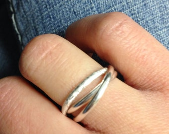 sterling silver plain and textured three band rings interlocking band rings friendship rings - Three Band Wedding Ring