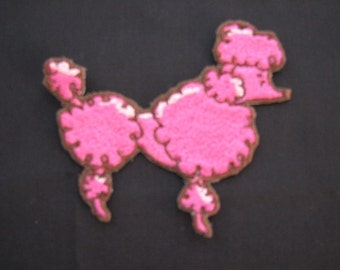 Pink French Poodle Paris 50s Rockabilly Iron on No Sew Embroidered Patch Applique