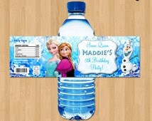 Frozen Bottle Labels - Disney Frozen Water Bottle Labels - Birthday Printable for Party matches Invitation Elsa Anna Olaf  Decorations Ideas