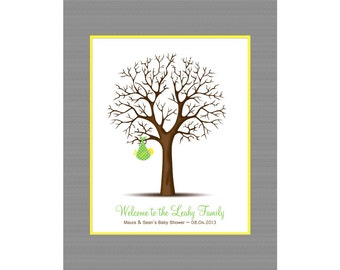 Baby Shower Gift, Thumbprint Tree for Baby Shower, Baby Shower Thumbprint Tree, Keepsake Thumbprint Guest Book, Nursery Decorations