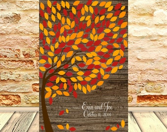 200 Guest Signature Tree, Rustic Outdoor Wedding Decor, Alternative Guestbook Print, Wedding Guest Signature Tree, Autumn Signature Tree