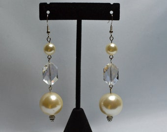 Creamy Pearl and Elongated Octagon Crystal Earrings