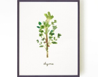 Herb watercolor painting, Kitchen print, Culinary art, Botanical art, Green kitchen decor, Apartment decor, THYME Buy 2 Get 1 Free