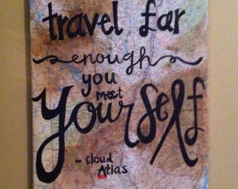 Travel Quote Map Painting